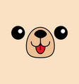 dog happy square face head icon contour line vector image