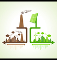 Eco and polluted city with solar panel and chimney vector image
