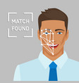 facial recognition concept with male face vector image