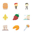 french things icons set cartoon style vector image vector image