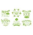 fresh vegan menu labels set fresh vegetables vector image vector image