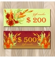 Gift certificate printable card template with red vector image