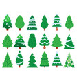 green christmas tree simple xmas trees shape vector image vector image