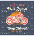 grunge style vintage motorcycle cafe racer hand vector image