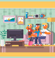 happy family watching television together in house vector image vector image