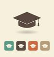 hat graduate flat icon vector image vector image