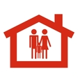 house with conventional family pictogram icon vector image
