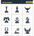 Icons set premium quality of media awards champion vector image vector image
