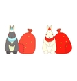 Isolated Christmas rabbits vector image