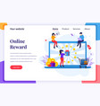 landing page design concept online reward vector image vector image