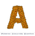 letter a sign of autumn leaves vector image