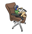 little boy playing tablet on office chair vector image vector image