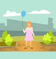 little girl wearing pink dress holding balloon vector image vector image