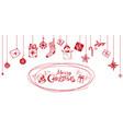merry christmas garland festive elements border vector image