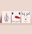 minimalistic christmas cards design set vector image