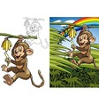 Monkey on a palm vector image vector image