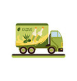 olive oil delivery service truck vector image vector image