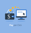 pay per click concept distant job making money vector image