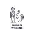 plumber working line icon sign vector image