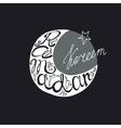 Ramadan Kareem doodle lettering in moon shape vector image vector image