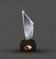 reflection glass trophy in crystal shape vector image