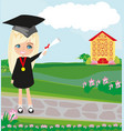 school-college graduation - girl vector image vector image