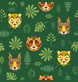 seamless pattern with tigers and tropical leaves vector image