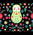 seamless russian doll floral black pattern vector image