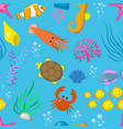 set aquatic funny sea animals underwater vector image vector image