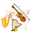 set musical instrument with melody symbols vector image