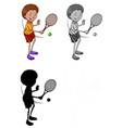 set tennis player character vector image vector image