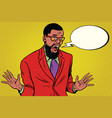 shocked hipster bearded african american vector image vector image