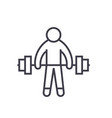 strong athlete lifting weights flat line vector image vector image