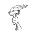 torch hand hold olympic burning stick retro vector image