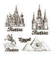 Travel Hand drawn sketch Russia Egypt vector image vector image