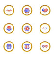 usa independence day icons set cartoon style vector image