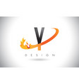 y letter logo with fire flames design and orange vector image vector image