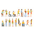 young people with permanent and temporary vector image vector image