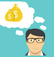 man businessman thinks about money flat business vector image