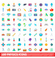 100 physics icons set cartoon style vector image vector image