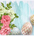 3d easter egg and roses background vector image vector image
