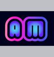 am a m pink blue gradient alphabet letter logo vector image vector image