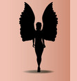 angel silhouette over pink vector image vector image
