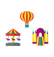 balloon bouncy castle and carousel icon set vector image