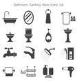 Bathroom Mono Icons Set vector image