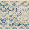 blue grunge waves pattern and hand draw in marine vector image vector image