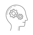 brain with gear line icon vector image vector image