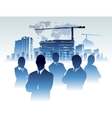 Businessman team in building office construction vector image vector image