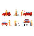 car service elements set male auto mechanics