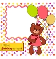 Card with bear girl vector image vector image